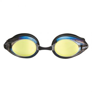 Arena Gold Black Tracks Mirror Racing Goggles