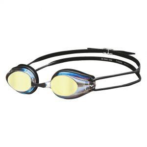 Arena Gold Black Tracks Mirror Racing Goggles