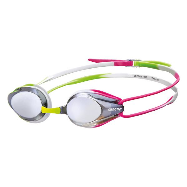 Arena Silver Green Pink Tracks Mirror Racing Goggles
