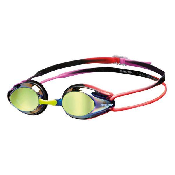 Arena Purple Red Tracks Mirror Racing Goggles