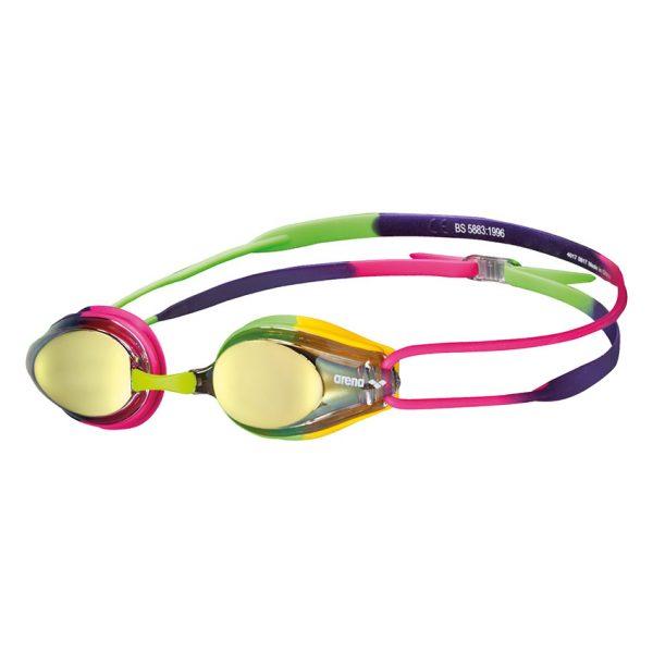 Arena Purple Pink Green Tracks Mirror Racing Goggles