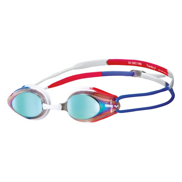Red White Blue Arena Tracks JUNIOR Mirrored Goggles