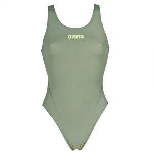 Arena 'Solid Tech' High Leg Green Swimsuit