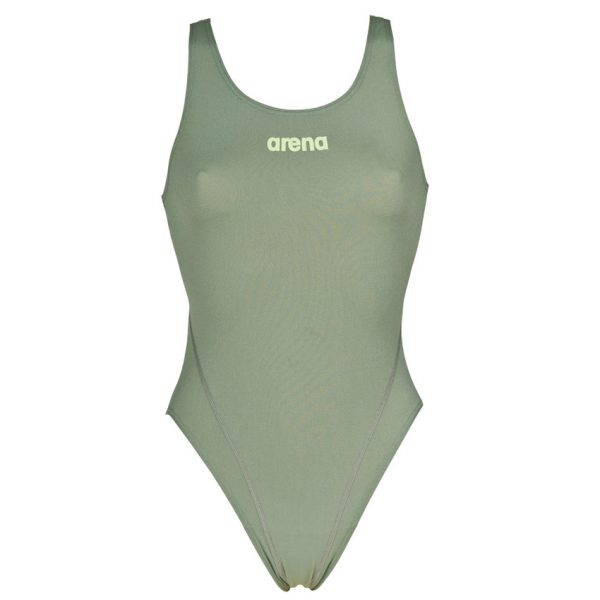 Arena 'Solid Tech' High Leg Green Swimsuit