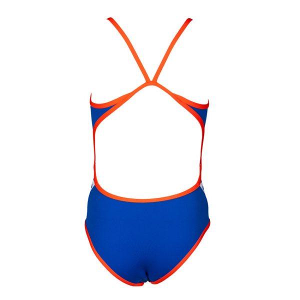 Arena Junior Team Stripe Swimsuit - Neon Blue