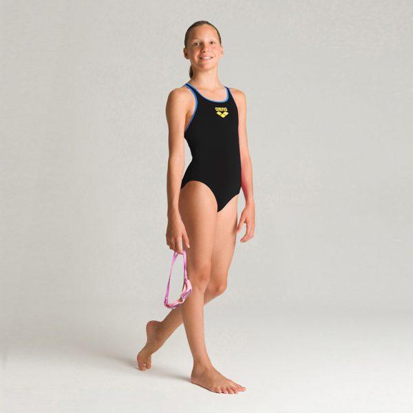 Arena BigLogo Girls Black Blue Swimsuit