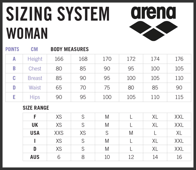 Ladies Arena Clothing Size Chart