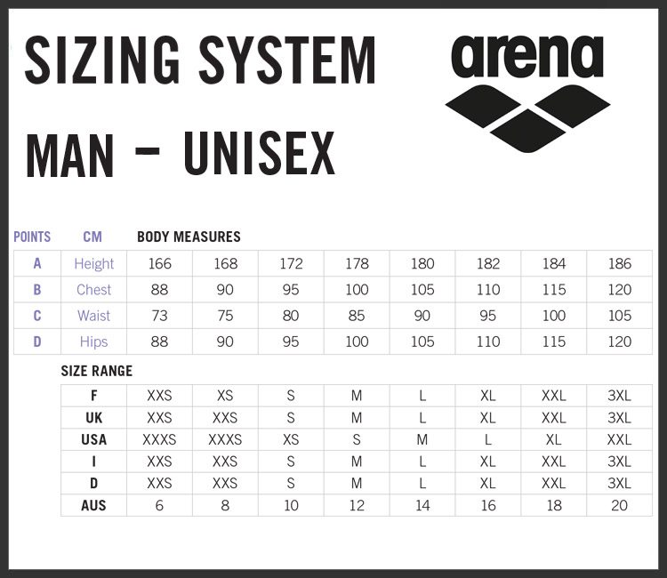 Arena Men's Clothing Size Chart