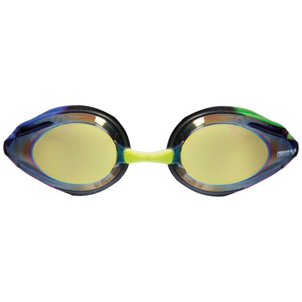 Arena Blue Green Tracks Mirror Racing Goggles