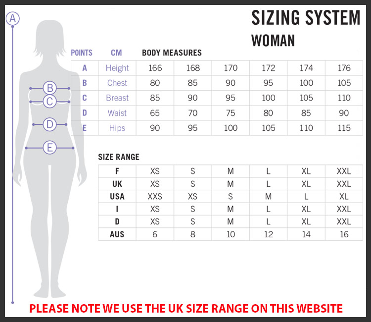Arena Ladies Sports Clothing Size Chart