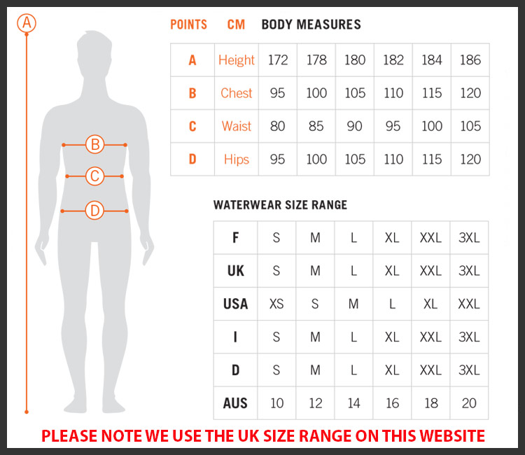 Arena mens beach size chart