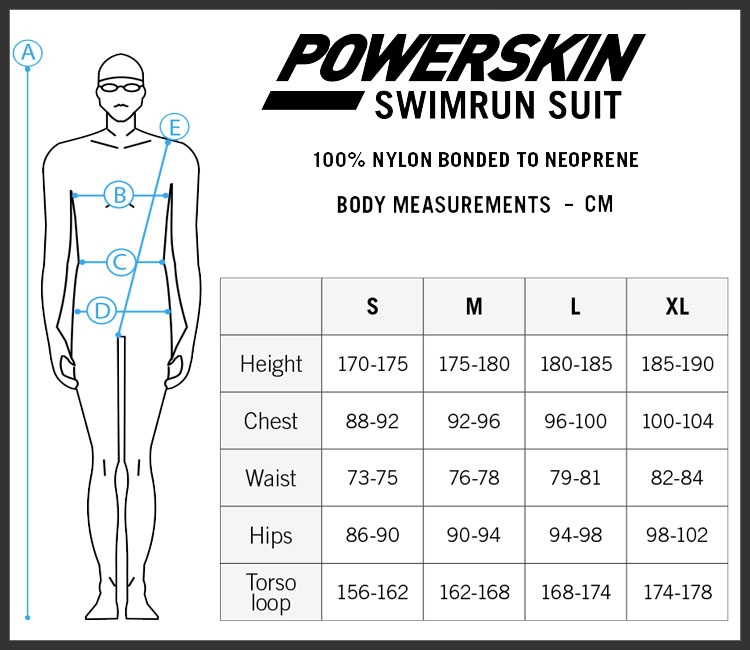 Arena Swim Run size chart - mens