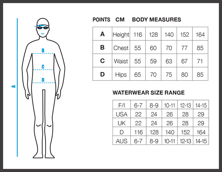 Junior Boy Size Chart