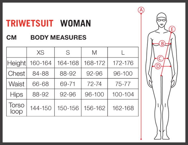 Arena ladies wetsuit size chart