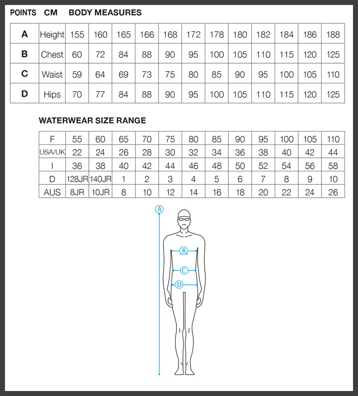 arena chart swimwear jammers 45cm band standard mens selecting row please usa use