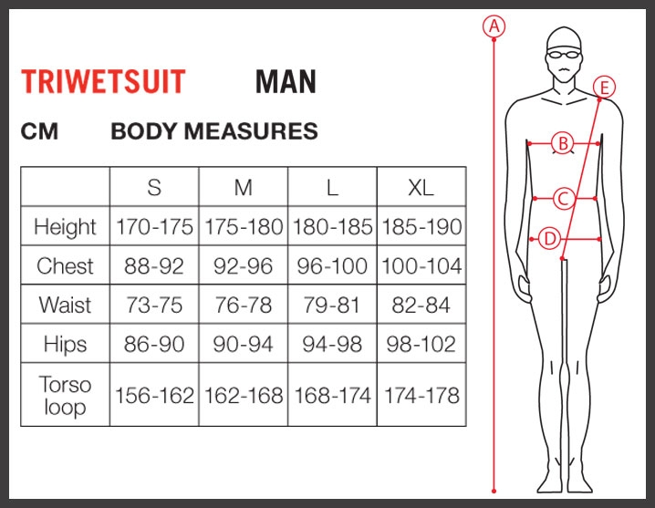 Arena mens tri wetsuit size chart
