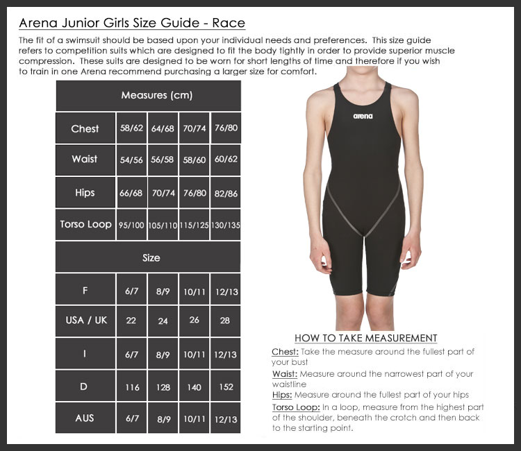 Arena junior race suit size chart