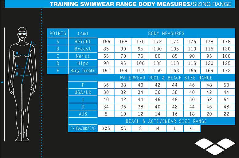 Ladies Swimwear Size Chart